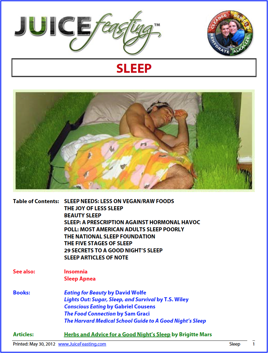 Sleep - by David Rainoshek, M.A.My 26-page file on sleep to further deepen your appreciation of this miraculous and necessary human activity. Don't be part of the Modern Great Unslept!