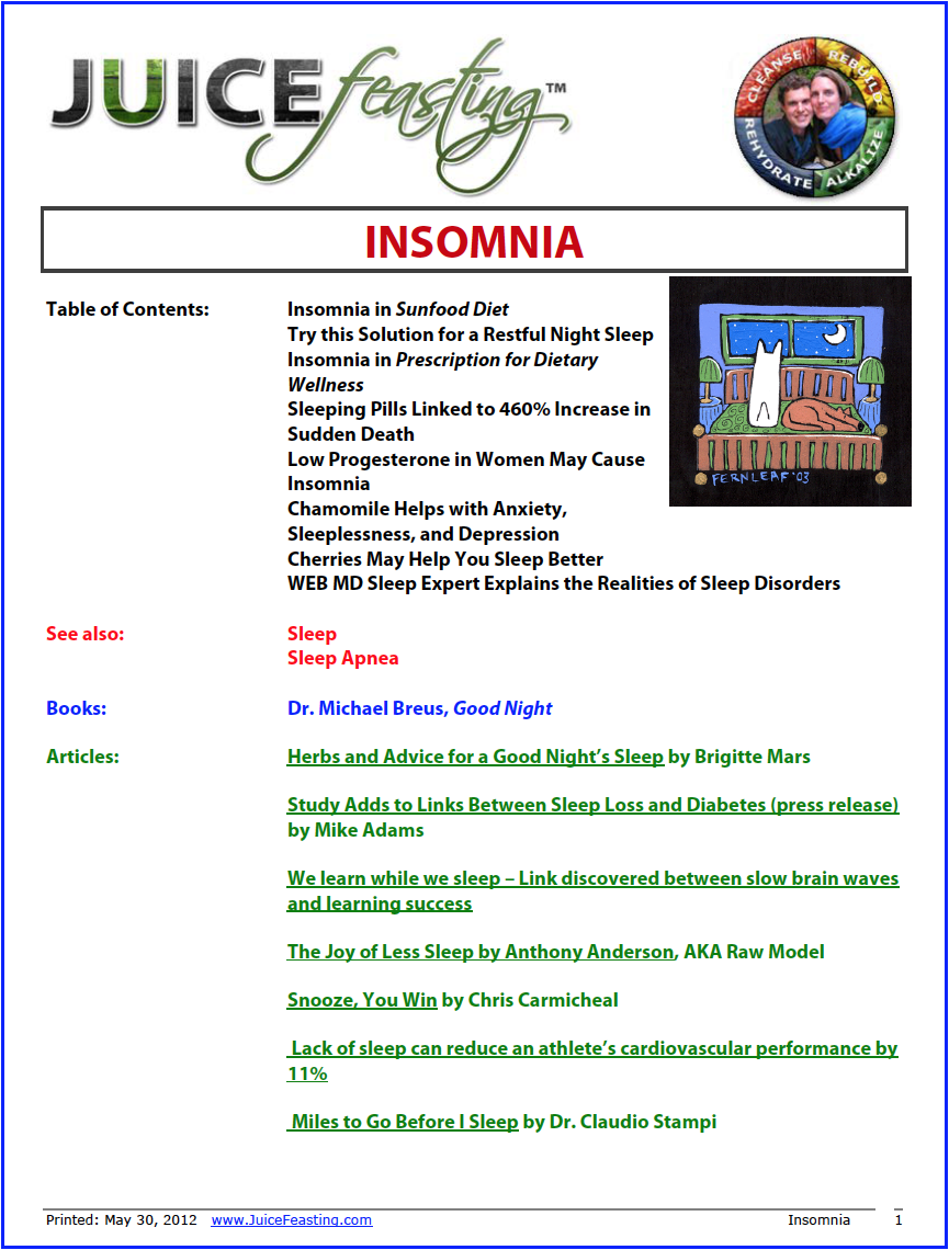 insomnia - by David Rainoshek, M.A.This is a full introduction to Insomnia, and some key pointing-out instructions on how to move beyond insomnia, naturally. An excellent review even for people who do not encounter Insomnia!