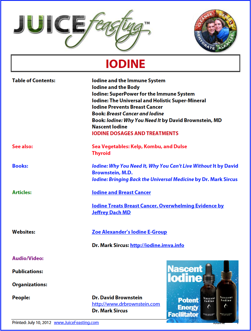 iodine - by David Rainoshek, M.A.Iodine is detected in every organ and tissue in the body. It is found in high levels in the thyroid, breast, stomach, saliva, ovaries, liver, lung, heart, and adrenals. It is essential in pregnancy. Iodine is essential for the heart. The thyroid hormones (which are molecules containing iodine) have major effects on the heart and circulatory system. Read on!!!