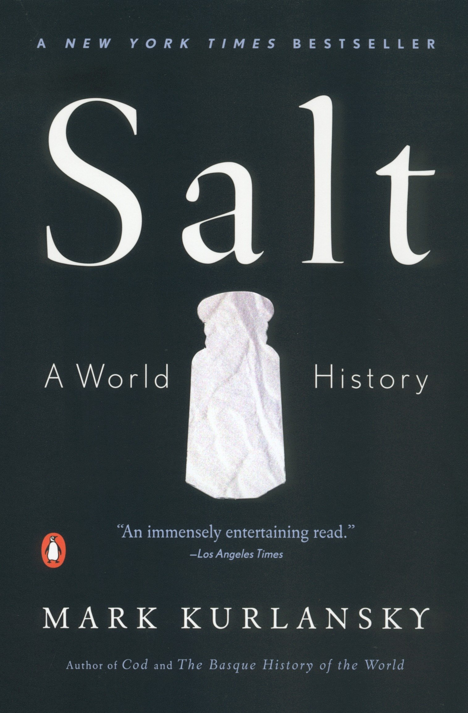 salt : a world history - By Mark KurlanskyMark Kurlansky, the bestselling author of Cod and The Basque History of the World, here turns his attention to a common household item with a long and intriguing history: salt. The only rock we eat, salt has shaped civilization from the very beginning, and its story is a glittering, often surprising part of the history of humankind.A substance so valuable it served as currency, salt has influenced the establishment of trade routes and cities, provoked and financed wars, secured empires, and inspired revolutions. Populated by colorful characters and filled with an unending series of fascinating details, Kurlansky's kaleidoscopic history is a supremely entertaining, multi-layered masterpiece.