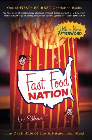 fast food nation - By Eric SchlosserFast food has hastened the malling of our landscape, widened the chasm between rich and poor, fueled an epidemic of obesity, and propelled American cultural imperialism abroad. That's a lengthy list of charges, but Eric Schlosser makes them stick with an artful mix of first-rate reportage, wry wit, and careful reasoning.Schlosser's myth-shattering survey stretches from California's subdivisions, where the business was born, to the industrial corridor along the New Jersey Turnpike, where many of fast food's flavors are concocted. Along the way, he unearths a trove of fascinating, unsettling truths — from the unholy alliance between fast food and Hollywood to the seismic changes the industry has wrought in food production, popular culture, and even real estate.