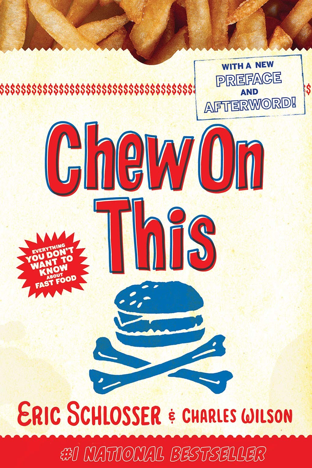 chew on this : Everything you don't want to know about fast food - By Eric SchlosserIn the New York Times bestseller Chew on This, Eric Schlosser and Charles Wilson unwrap the fast-food industry to bring you a behind-the-scenes look at a business that both feeds and feeds off the young. Find out what really goes on at your favorite restaurants—and what lurks between those sesame seed buns.Praised for being accessible, honest, humorous, fascinating, and alarming, Chew On This was also repeatedly referred to as a must-read for kids who regularly eat fast food. Having all the facts about fast food helps young people make healthy decisions about what they eat. Chew On This shows them that they can change the world by changing what they eat.Chew on This also includes action steps, a discussion guide, and a new afterword by the authors.
