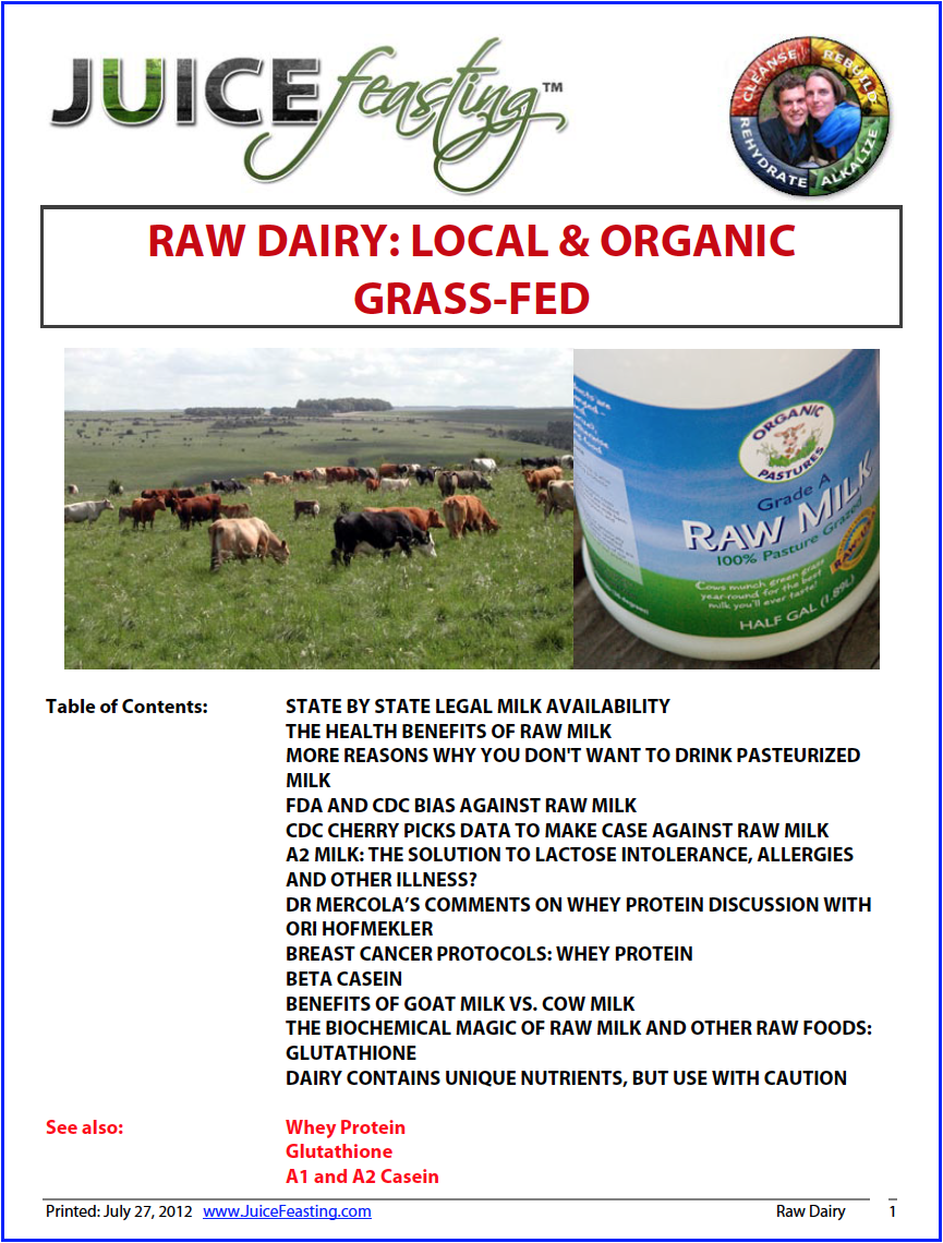 dairy - raw organic and local - By David Rainoshek, M.A.Dr. Campbell and most other Vegan health professionals make no differentiation between Raw/Organic Dairy products and Conventional Pasteurized Industrial Dairy products… even though they are quick to differentiate accordingly for plants. This file will show that differentiation is absolutely a must… Raw Organic Grass-Raised non GMO healthy milk is a Miracle, and a Superfood.Yes, this is a departure and what I view as an upgrade from the Vegan and Raw/Live Vegan perspective on dairy as cancer-causing, heart-disease causing, and an ecological and animal rights disaster. All those perspectives are absolutely true about Conventional Processed Industrialized Dairy. Leaving conventional industrialized dairy behind and healing from its destructive effects is entirely healthy and appropriate.But when healing has occurred, and we are looking at long-term health and well-being from an Integrated Nutritional perspective, dairy becomes interesting again.I know this may be hard to consider if you are still working the Plant-Based aspects of the Spectrum of Diet. But know that I have been there, as have many, many, many other eaters and professionals in the world of Plant-Based Dietetics, and we have eventually incorporated carefully selected raw organic local dairy products – often fermented and probiotic rich – into our Integrated approach.We have been at pains to create an incredible file for you on this subject – even if this is not where you are at – save it in your file library for future reference, or for those in your life who need a dairy upgrade.