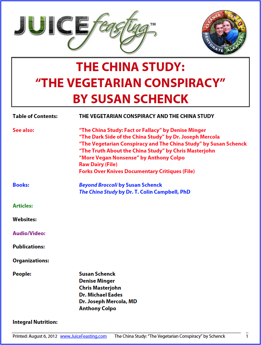 the vegetarian conspiracy and the china study - By Susan SchenckSusan Schenck from the file: Dr. Campbell's book is often used by vegans to prove the superiority of their diets, since lower rates of cancer and heart disease were found in those Chinese populations eating plant-based diets. But close examination of the actual China Study research data on which Dr. Campbell based his vegan conclusions paints a rather different picture, as we shall see.