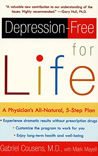 "depression-free for life - By Dr. Gabriel Cousens, M.D.A customized, drug-free program that attacks the biochemical roots of depression — with a 90% success rateNot all depressions are alike. And despite the attention given to Prozac and other drugs, there quite literally is no magic pill. Instead, writes Dr. Gabriel Cousens, someone who suffers from depression needs a customized, individual program, one that attacks the personal, biochemical roots of the problem.In Depression-Free for Life, Dr. Cousens shows how to heal depression safely by synergistically rebalancing what he calls ""the natural drugs of the brain,"" using a five-step program of mood-boosting substances, vitamin and mineral supplements, and a mood-enhancing diet and lifestyle. Grounded in cutting-edge science, yet accessible and safe, this book shows how to regain your optimism and energy through balancing your own biochemistry.+ Helps you customize your approach through easy self-assessment exercises+ Outlines a five-step program for harnessing your own body chemistry+ Incluedes a seven-day menu plan+ Features thirty savory but simple recipes"