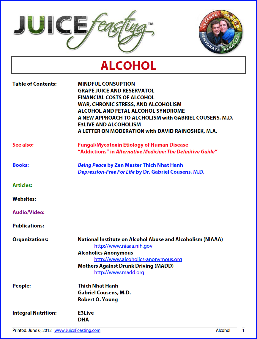 alcohol - By David Rainoshek, M.A.I made this file part of today for two reasons:1. Because of the other file on internal composting, and alcohol is a mycotoxin.2. I had numerous friends die or become seriously injured in years past due to alcohol-related events. There are infinite happinesses in the world. With an element that creates so much suffering for so many families, please consider other happinesses among the infinite choices. Enjoy the file.