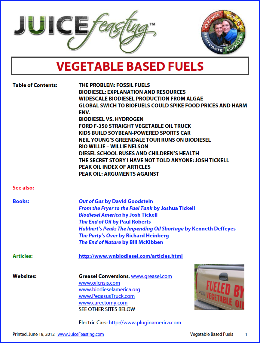 vegetable based fuels - By David Rainoshek, M.A.As you know, we drive a Ford-F-350 Diesel on Straight Waste Vegetable Oil free from Asian Restaurants, and have done so for almost 60,000 miles. This is my huge file on the subject. Lots of information, and a great discussion. See the Biodiesel From Algae file for more on how we can do this large-scale.