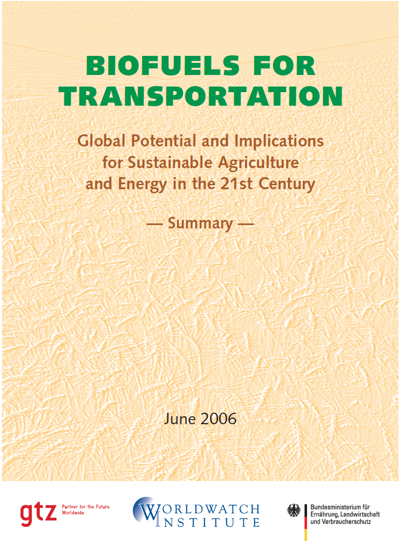 biofuels for transportation - The Worldwatch InstituteAn excellent summary on the global and potential implications for sustainable agriculture and energy in the new century, with global data on the progress of biofuels.As oil prices and environmental concerns have risen in the past few years, investment in new biofuel facilities has mushroomed in Brazil, Europe, the United States, and elsewhere. Among the countries that have made major commitments to biofuels in recent years are China, Colombia, India, the Philippines, and Thailand. The Swedish government has vowed to end the country's dependence on fossil fuels by 2020, with biofuels slated to play a major role. By the Worldwatch Institute.