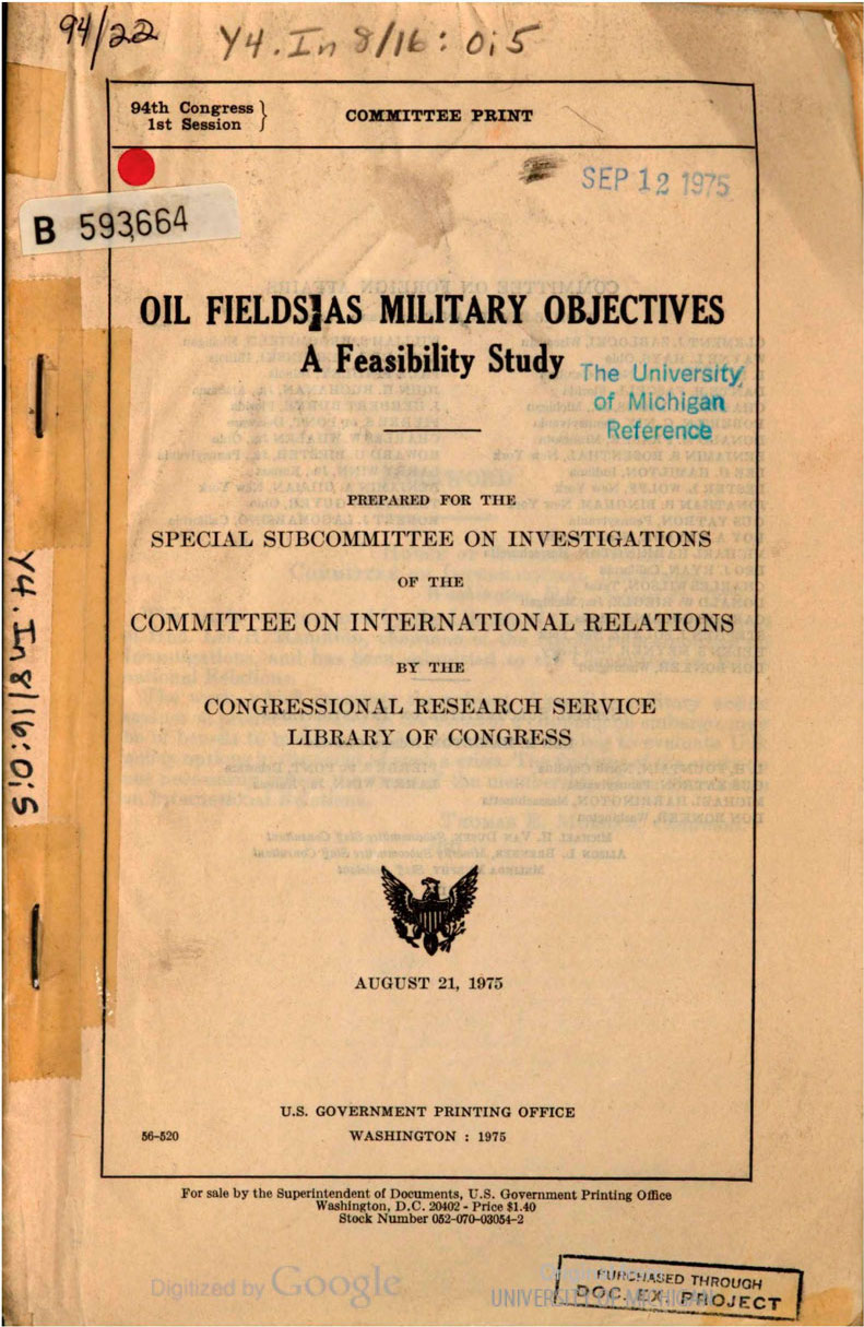 """oil fields as military objectives: u.s. congress (1975) - By The U.S. Congress (1975)Petroleum has been an object of war ever since it was put into use.Scott Nearing wrote a book in 1921 called """"Oil and the Germs of War."""" He knew. Congress considered this in the 1970s, that you are about to read. We need a home-grown fuel source, which is why I have attached the government study on growing algae for fuel."""