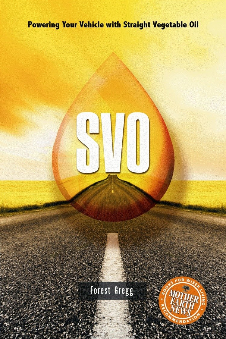 """SVO : powering your vehicle with straight vegetable oil - By Forest Gregg""""There is a lot of information out there about the pros and cons of biofuels – more cons than pros recently. but still, nothing seems to beat Straight Vegetable Oil (SVO). It's cheap, carbon-neutral, uses a waste product and does not depend upon centralized corporate infrastructure. And now there is a definitive guide to fueling your diesel engine with this alternative fuel. SVO-Powering Your Vehicle with Straight Vegetable Oil cuts through the masses of often contradictory, erroneous and confusing information on the subject and provides a practical guide. It also, importantly and uniquely, explains what is necessary to convert a diesel engine and how to do it properly. there are facts, figures, charts, grpahs, diagrams, and lots of technical detail but, with all its detail, the book is still very accessible. Gregg knows his stuff; he is a former researcher with Frybrid, a leading developer of veggie oil conversion systems, and has worked as a designer, fabricator and installer of SVO conversion systems."""" – Natural Life Magazine"""