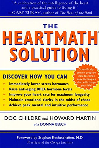 """the heartMath solution - By Childre, Martin, and BeechThe Institute of Heart Math's revolutionary program for engaging the power of the heart's intelligence.The HeartMath Solution may easily be written off as a book too eccentric for widespread public consumption, and that's unfortunate. The title's a bit misleading–it's not about cardiac care and it's not about calculus, but rather how 30 years of research have shown that the heart's """"intelligence"""" affects emotions and physical health–especially when it comes to handling stress–and specifically what you can do to balance heart rhythms, reduce stress hormones, and boost your immune system. Yes, it sounds complicated, especially when you read that cardiologists worked with physicists and psychiatrists to develop the HeartMath program. But it's worth brushing off your skepticism and exploring the concepts in the Solution, as many employees of Fortune 500 companies have already done.The """"intelligence"""" that the authors focus on refers to both the heart's """"brain,"""" or the 40,000 neurons found in the heart (the same number in the brain itself), and the intuitive signals the heart sends, including feelings of love, happiness, care, and appreciation. When such positive emotions are felt, they """"not only change patterns of activity in the nervous system; they also reduce the production of the stress hormone cortisol."""" When there's less cortisol, there's more DHEA, the so-called fountain of youth hormone known to have anti-aging effects on many of the body's systems.The HeartMath Solution outlines 10 steps for harnessing the power of the heart's intelligence, including ways to manage your emotions and keep energy levels high. One of the most important is the """"Freeze-Frame"""" technique for calming the nervous system, improving clarity of thought and perception, and boosting productivity (which is one of the many appealing features for those Fortune 500 companies). Each step includes references to data proving its effectiveness, wi"""