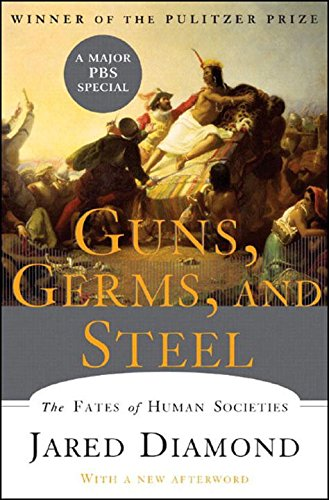 guns, germs, and steel - By Jared DiamondWinner of the Pulitzer Prize, Guns, Germs, and Steel is a brilliant work answering the question of why the peoples of certain continents succeeded in invading other continents and conquering or displacing their peoples. This edition includes a new chapter on Japan and all-new illustrations drawn from the television series. Until around 11,000 BC, all peoples were still Stone Age hunter/gatherers. At that point, a great divide occurred in the rates that human societies evolved. In Eurasia, parts of the Americas, and Africa, farming became the prevailing mode of existence when indigenous wild plants and animals were domesticated by prehistoric planters and herders.As Jared Diamond vividly reveals, the very people who gained a head start in producing food would collide with preliterate cultures, shaping the modern world through conquest, displacement, and genocide.The paths that lead from scattered centers of food to broad bands of settlement had a great deal to do with climate and geography. But how did differences in societies arise? Why weren't native Australians, Americans, or Africans the ones to colonize Europe? Diamond dismantles pernicious racial theories tracing societal differences to biological differences.He assembles convincing evidence linking germs to domestication of animals, germs that Eurasians then spread in epidemic proportions in their voyages of discovery. In its sweep, Guns, Germs and Steel encompasses the rise of agriculture, technology, writing, government, and religion, providing a unifying theory of human history as intriguing as the histories of dinosaurs and glaciers.