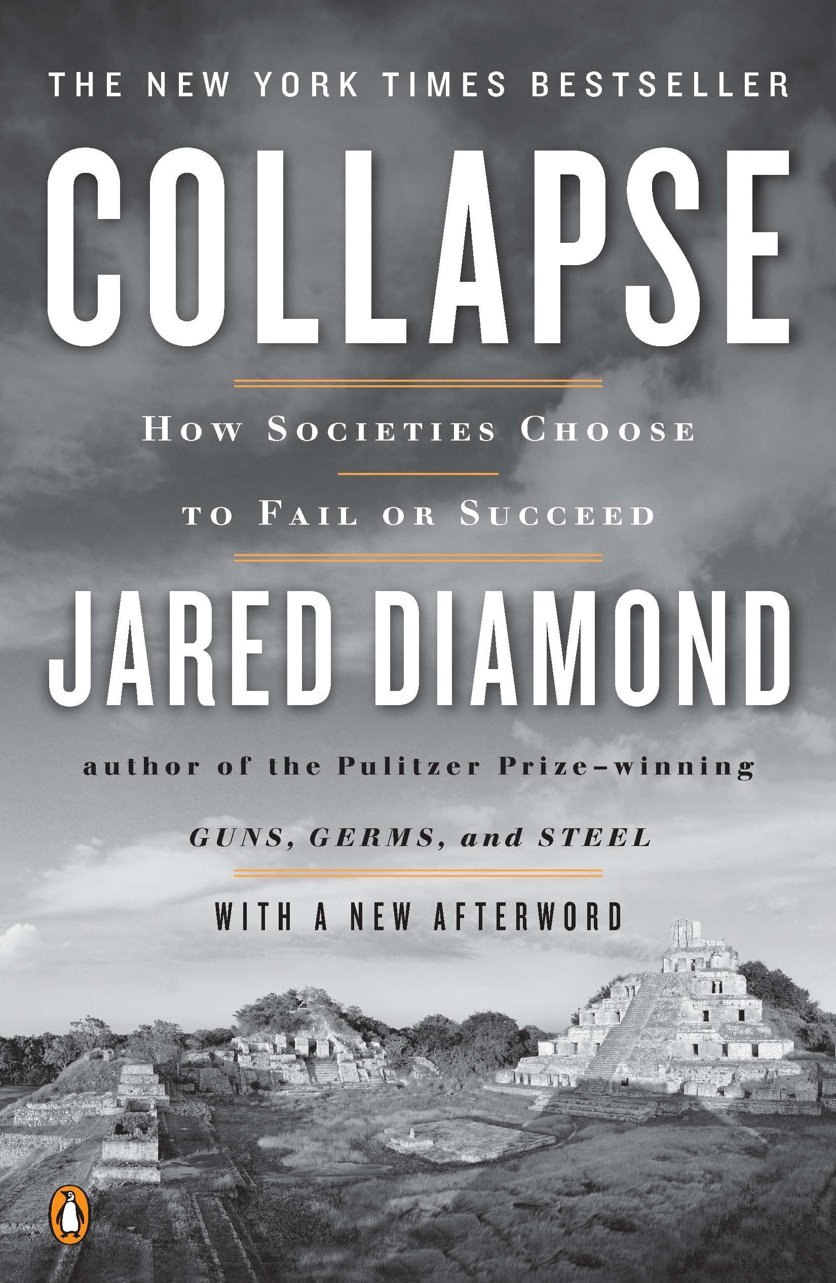 collapse : how societies choose to fail or succeed - By Jared DiamondJared Diamond's Collapse: How Societies Choose to Fail or Succeed is the glass-half-empty follow-up to his Pulitzer Prize-winning Guns, Germs, and Steel. While Guns, Germs, and Steel explained the geographic and environmental reasons why some human populations have flourished, Collapse uses the same factors to examine why ancient societies, including the Anasazi of the American Southwest and the Viking colonies of Greenland, as well as modern ones such as Rwanda, have fallen apart. Not every collapse has an environmental origin, but an eco-meltdown is often the main catalyst, he argues, particularly when combined with society's response to (or disregard for) the coming disaster. Still, right from the outset of Collapse, the author makes clear that this is not a mere environmentalist's diatribe. He begins by setting the book's main question in the small communities of present-day Montana as they face a decline in living standards and a depletion of natural resources. Once-vital mines now leak toxins into the soil, while prion diseases infect some deer and elk and older hydroelectric dams have become decrepit. On all these issues, and particularly with the hot-button topic of logging and wildfires, Diamond writes with equanimity.Because he's addressing such significant issues within a vast span of time, Diamond can occasionally speak too briefly and assume too much, and at times his shorthand remarks may cause careful readers to raise an eyebrow. But in general, Diamond provides fine and well-reasoned historical examples, making the case that many times, economic and environmental concerns are one and the same. With Collapse, Diamond hopes to jog our collective memory to keep us from falling for false analogies or forgetting prior experiences, and thereby save us from potential devastations to come. While it might seem a stretch to use medieval Greenland and the Maya to convince a skeptic about the seriousness of global warming, it's exactly this type of cross-referencing that makes Collapse so compelling.