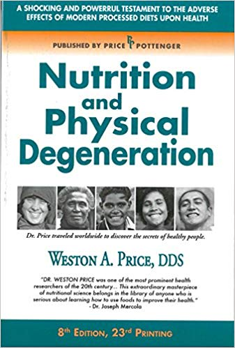 nutrition and physical degeneration - By Weston A. PriceAn epic study demonstrating the importance of whole food nutrition, and the degeneration and destruction that comes from a diet of processed foods.For nearly 10 years, Weston Price and his wife traveled around the world in search of the secret to health. Instead of looking at people afflicted with disease symptoms, this highly-respected dentist and dental researcher chose to focus on healthy individuals, and challenged himself to understand how they achieved such amazing health. Dr. Price traveled to hundreds of cities in a total of 14 different countries in his search to find healthy people.He investigated some of the most remote areas in the world. He observed perfect dental arches, minimal tooth decay, high immunity to tuberculosis and overall excellent health in those groups of people who ate their indigenous foods. He found when these people were introduced to modernized foods, such as white flour, white sugar, refined vegetable oils and canned goods, signs of degeneration quickly became quite evident. Dental caries, deformed jaw structures, crooked teeth, arthritis and a low immunity to tuberculosis became rampant amongst them. Dr. Price documented this ancestral wisdom including hundreds of photos in his book, Nutrition and Physical Degeneration.