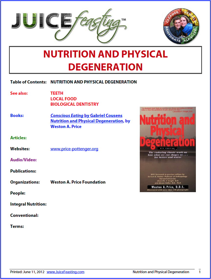 nutrition and physical degeneration: An overview - First published in 1939, this monumental but highly readable book is designed to preserve the classic study of Dr. Price's worldwide investigation of the deleterious effects of processed foods and synthetic farming methods on human health, and the promise of regeneration through sound nutrition. Contains guidelines for approaching optimum health and reproduction, now and through future generations, as did the primitives. Dr. Price has been universally accepted as one of the foremost authorities on the role of foods in their natural form in the overall health pattern and the development of degenerative illnesses as a result of the addition of processed foods to our diet.