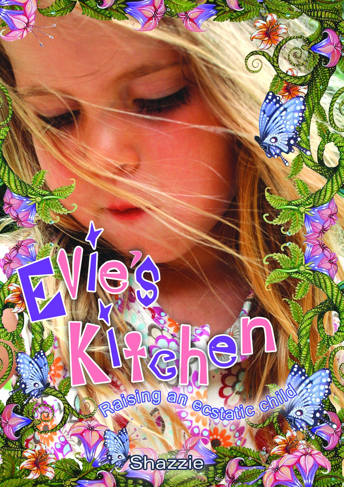 "evie's kitchen - By ShazzieAN INDISPENSABLE BOOK IF YOU ARE INTO RAW/LIVE VEGAN NUTRITION. CHILDREN ON A PLANT-BASED or PLANT-CENTERED DIET NEED SUPPLEMENTATION. Evie's Kitchen by Shazzie is a comprehensive guide to raising a child as naturally as possible in the western world. Shazzie examines the breastfeeding culture, the benefits of raw food, and the nutritional challenges of raising a child as a vegan. With a depth of research never published before in vegan literature, Shazzie works out the supplements needed to raise a child healthy, vegan and raw. Her final conclusions in her journey may startle you!There are over 180 full colour photographed recipes in this book, providing many different meal options for the raw child. The recipes start with ""first foods"" and then progress to foods and meals that children and adults alike will love. In fact, if you don't have a child in your life, you'll love this book just for the recipes! Check out the following, including Russell Brand's hair fell on my plate, My mate, Golden nuggets, Muffins w' stuffin, Golden brown texture like sun and Joe's ecstatic faked beans."
