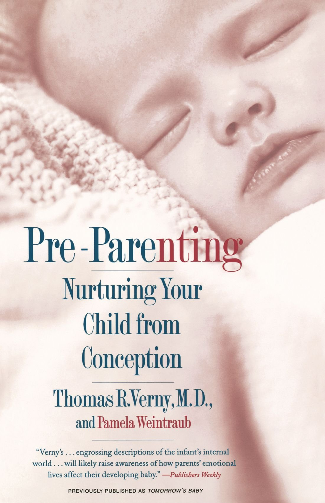 "pre-parenting : nurturing your child from conception - By Thomas R. VernyHow does a mother's tone of voice affect her unborn child? What kind of music, if any, should a child be exposed to in the womb? Can parents influence the predispositions of their child to traits like depression, or something as elusive as basic goodness? Thanks to revolutionary discoveries in neuroscience and developmental psychology in recent years, says Dr. Thomas Verny, we now know more about these questions than ever. In Pre-Parenting, Dr. Verny translates this research into practical advice for parents and parents-to-be.Pre-Parenting explains how even the most ordinary events can evoke a cascade of biological changes in a baby — not only in the brain but also in the immune system and throughout the body. Every experience, from a baby's trip down the birth canal to the way she is held or spoken to, can shape her health and personality. An internationally recognized expert in early human development, Dr. Verny shows parents how to use this new information to create an ideal environment for their babies, enhance their babies' intelligence and social skills, and become better parents through ""conscious parenting."" Insightful and encouraging, Pre-Parenting is an invaluable guide for parents who want to help actualize their child's full potential, beginning with conception."