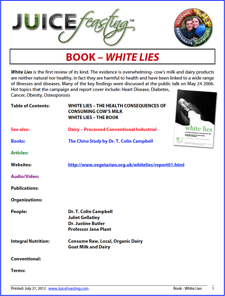 """white lies (a processed Conventional dairy investigation) - """"White Lies"""" is the first review of its kind. The evidence is overwhelming – cow's milk and dairy products are neither natural nor healthy, in fact they are harmful to health and have been linked to a wide range of illnesses and diseases. Many of the key findings were discussed at the public talk on May 24 2006. Hot topics that the campaign and report cover include: Heart Disease, Diabetes, Cancer, Obesity, Osteoporosis"""