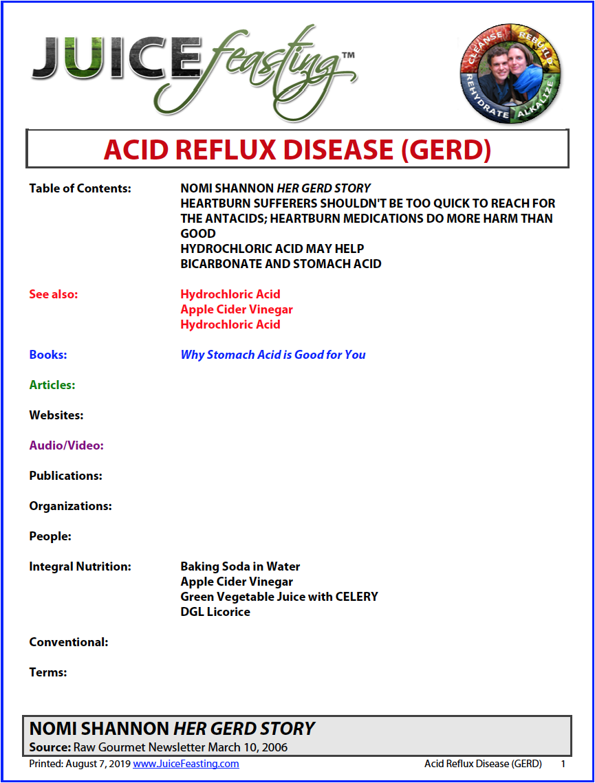 acid reflux disease - by David Rainoshek, M.A.Before you reach for the antacids to deal with troublesome heartburn, you might want to consider simply changing your eating habits. Most people are aware that eating too quickly or eating certain foods can trigger heartburn, yet few people are willing to change how and what they eat. Instead, they chow down as usual and then turn to their heartburn medication for relief. However, this is not the best way to tackle heartburn or indigestion, and, in fact, some of the very medications that claim to ease heartburn may actually make things worse.Believe it or not, heartburn is often related to too little stomach acid, among other important elements. Read on in the file!