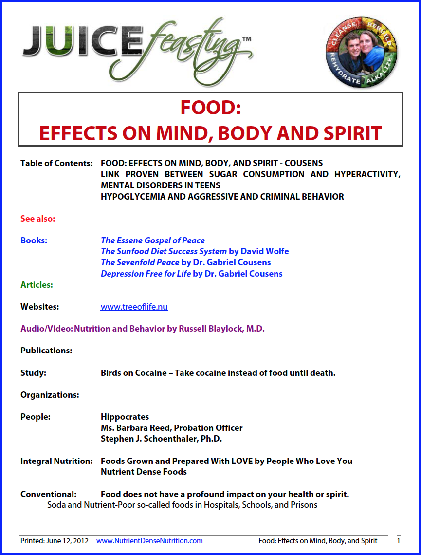 food - effects on mind, body, and spirit - by Gabriel Cousens, M.D.This information introduces you to the powerful effects our food choices can have not only on the body, but on the emotional moods, mind, and spirit. The effect of diet on spiritual receptivity, strength of moral character, clarity of mind, and the enhancement of the spiritualizing energies in the body is something well known in the Judaic-Christian tradition as well as other traditions around the world. Food choices may have either a dulling or enhancing effect on our ability to receive God's grace. Are you ready to consider how what you are eating may be affecting your mind and spiritual sensitivity?
