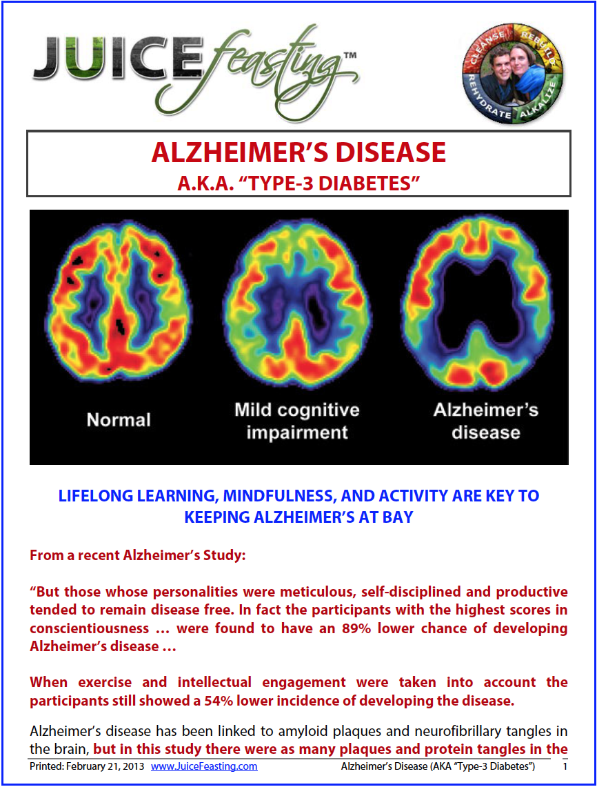 "Alzheimer's disease - by David Rainoshek, M.A.Alzheimer's is being called ""Type-3 Diabetes."" Why? Because diabetes is typified by low blood sugar to critical tissues, which has often been created by excess processed sugar and processed fats in the diet. Type-2 Diabetes is also a disease of stagnation and thickening or scarring of tissues. Recent research has shown that Alzheimer's Disease is actually a low blood sugar condition to the brain, preceded by a processed diet and sedentary lifestyle.Fortunately, there are numerous practices that can be brought to bear to reduce Alzheimer's risk and even reverse the condition once the underlying causes have set the wheels in motion. Don't miss this file. The information and research contained within is valuable for everyone of any age and dietary approach."