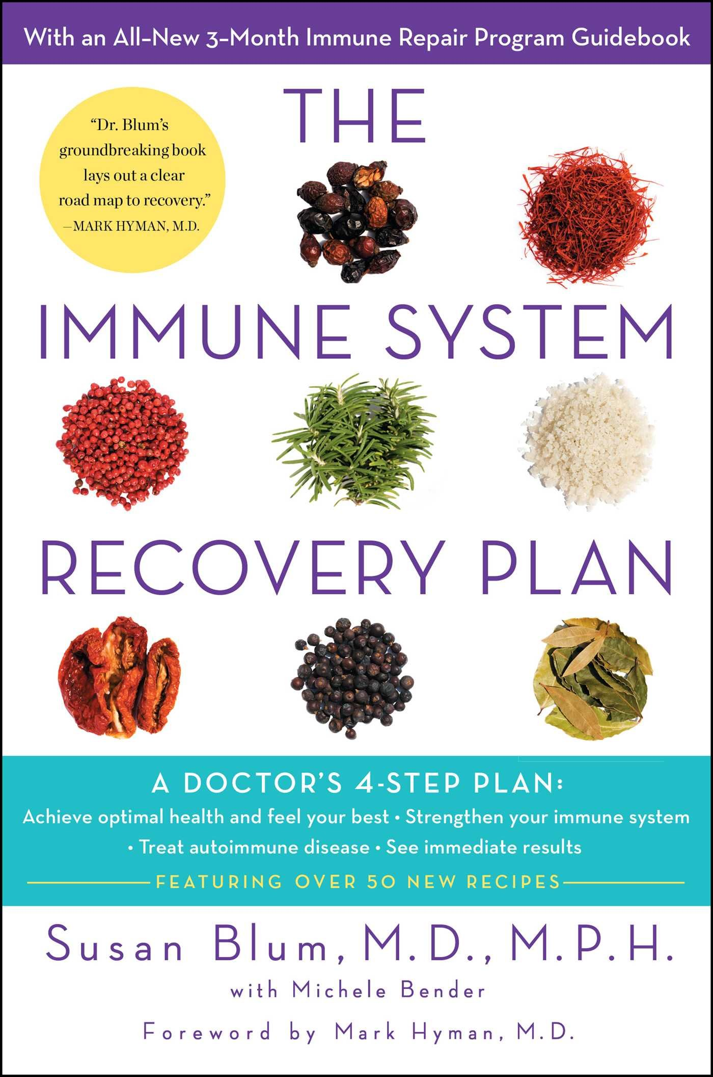 "the immune system recovery plan: a doctor's 4-step program to treat autoimmune disease - By Susan Blum, MDAre you constantly exhausted?• Do you frequently feel sick?• Are you hot when others are cold, or cold when everyone else is warm?• Do you have trouble thinking clearly, aka ""brain fog""?• Do you often feel irritable?• Are you experiencing hair loss, dry skin, or unexplained weight fluctuation?• Do your joints ache or swell but you don't know why?• Do you have an overall sense of not feeling your best, but it has been going on so long it's actually normal to you?IF you answered yes to any of these questions, you may have an autoimmune disease, and this book is the ""medicine"" you need. Among the most prevalent forms of chronic illness in this country, autoimmune disease affects nearly 23.5 million Americans. This epidemic—a result of the toxins in our diet; exposure to chemicals, heavy metals, and antibiotics; and unprecedented stress levels—has caused millions to suffer from autoimmune conditions such as Graves' disease, rheumatoid arthritis, Crohn's disease, celiac disease, lupus, and more. In The Immune System Recovery Plan, Dr. Susan Blum, one of the most sought-after experts in the field of functional medicine, shares the four-step program she used to treat her own serious autoimmune condition and help countless patients reverse their symptoms, heal their immune systems, and prevent future illness.DR. BLUM'S INNOVATIVE METHOD FOCUSES ON:• Using food as medicine• Understanding the stress connection• Healing your gut and digestive system• Optimizing liver functionEach of these sections includes an interactive workbook to help you determine and create your own personal treatment program. Also included are recipes for simple, easy-to-prepare dishes to jump-start the healing process.The Immune System Recovery Plan is a revolutionary way for people to balance their immune systems, transform their health, and live fuller, happier lives."