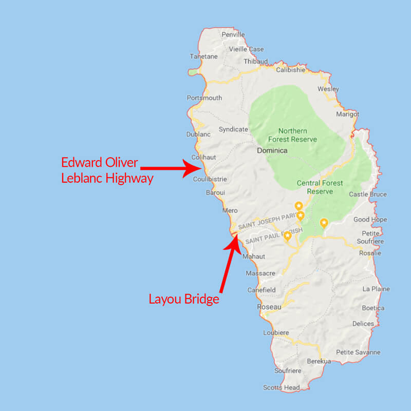 Layou Bridge is an important piece of infrastructure along the Edward Oliver Leblanc Highway, on Dominica's west coast.