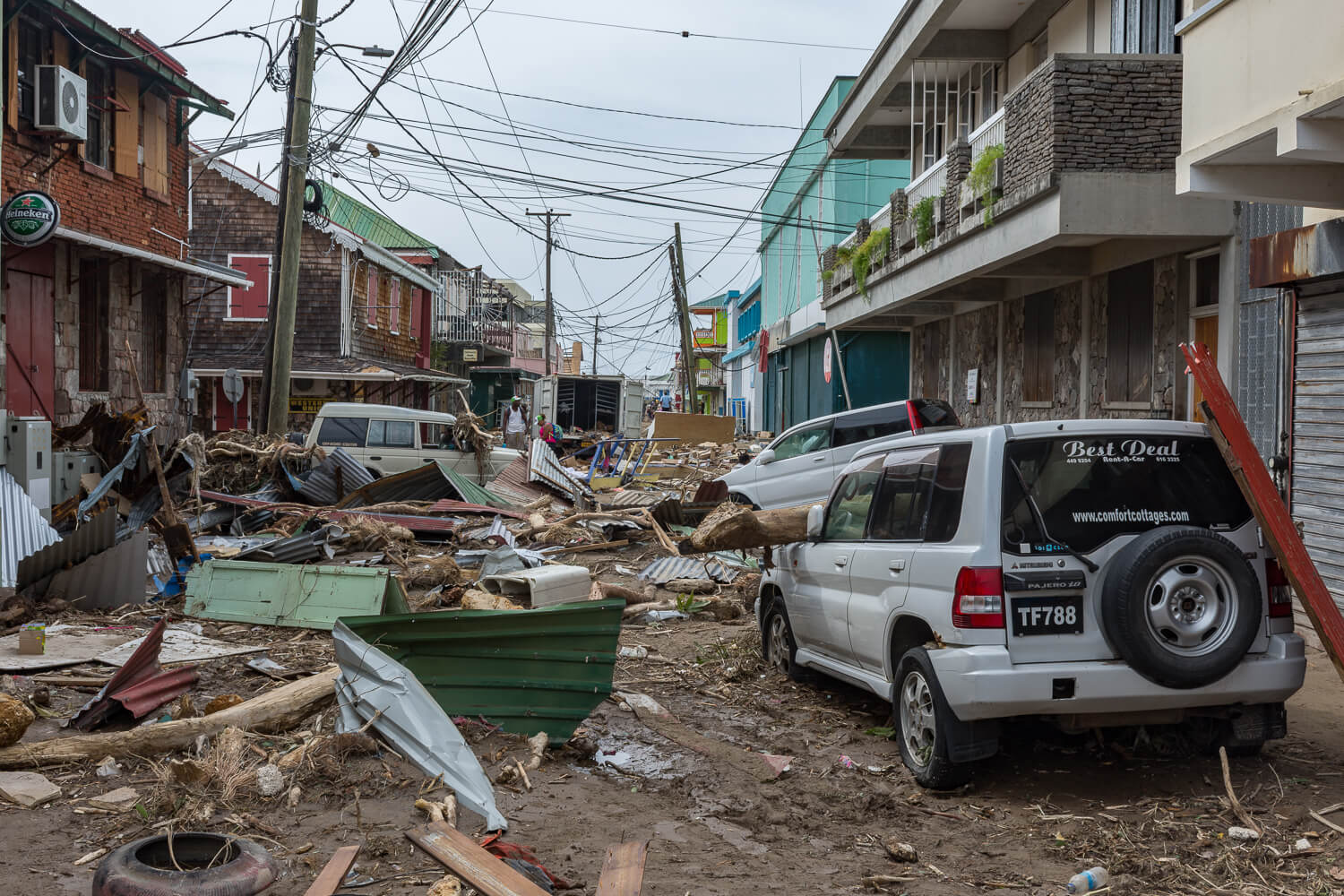 Destruction caused by Hurricane Maria, on Old Street Roseau.