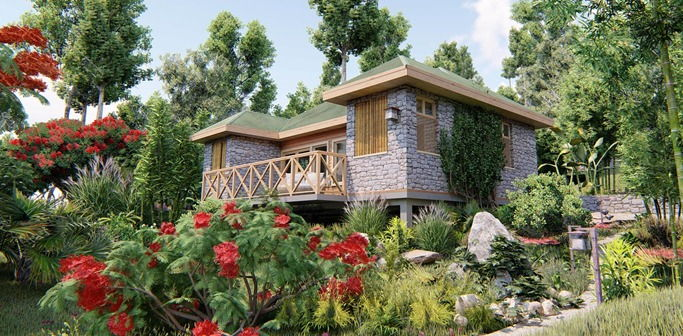 A view of a villa at Jungle Bay Eco Villas, Dominica.