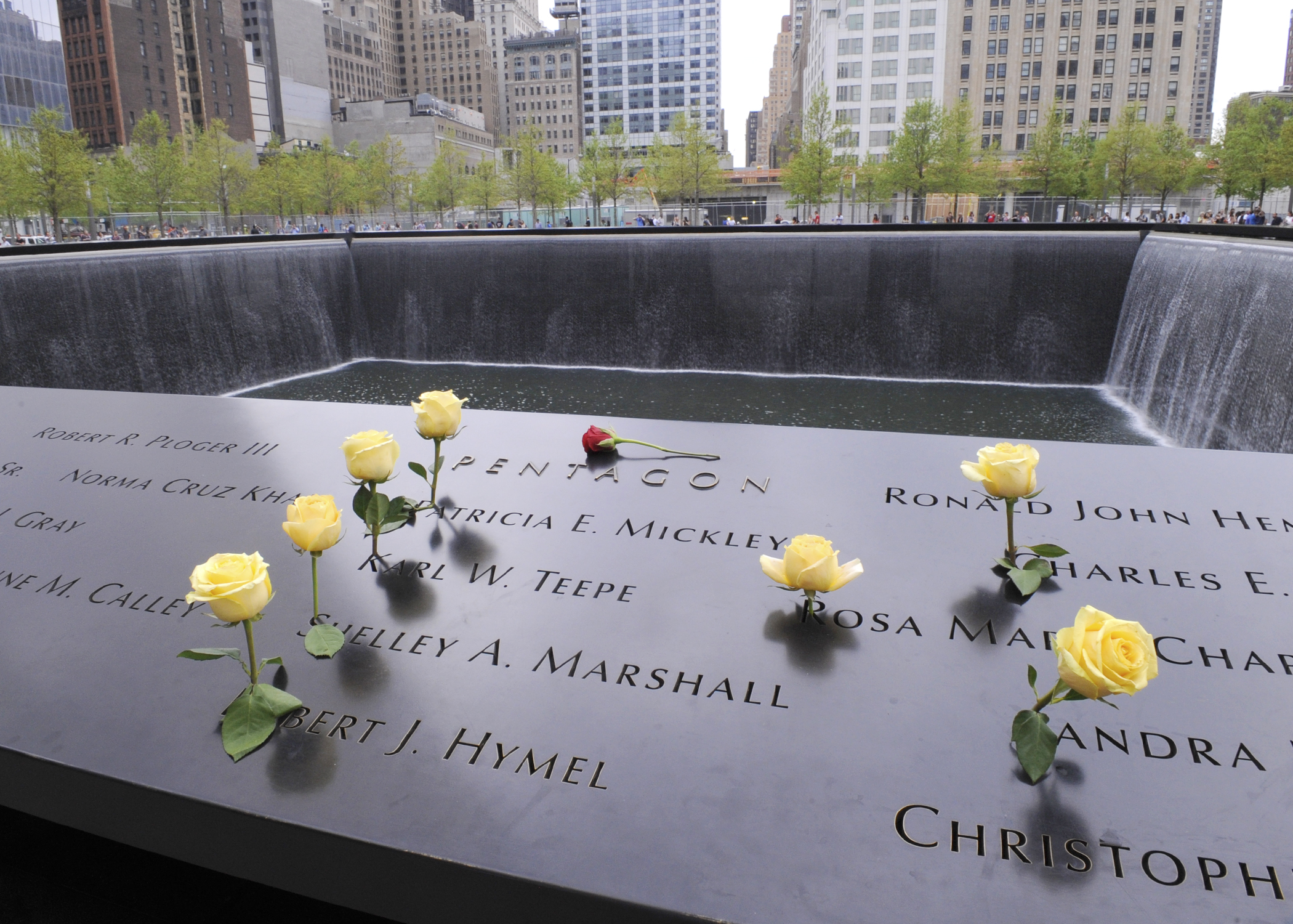 Names of DIA's fallen employees on the 9/11 Memorial in New York City. (Photo Credit: Navy Lt. Jeffrey Prunera)