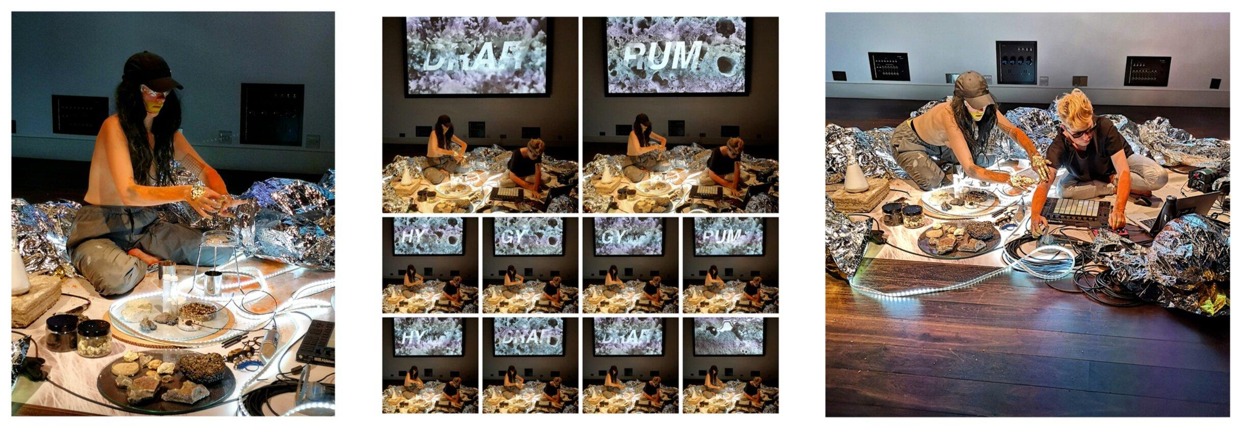 Hg (Mercury)   .  2019. Science Gallery, London. Rachel Pimm and Lori E Allen.  Video, live performance and sound.  Photos by Deborah Wale.