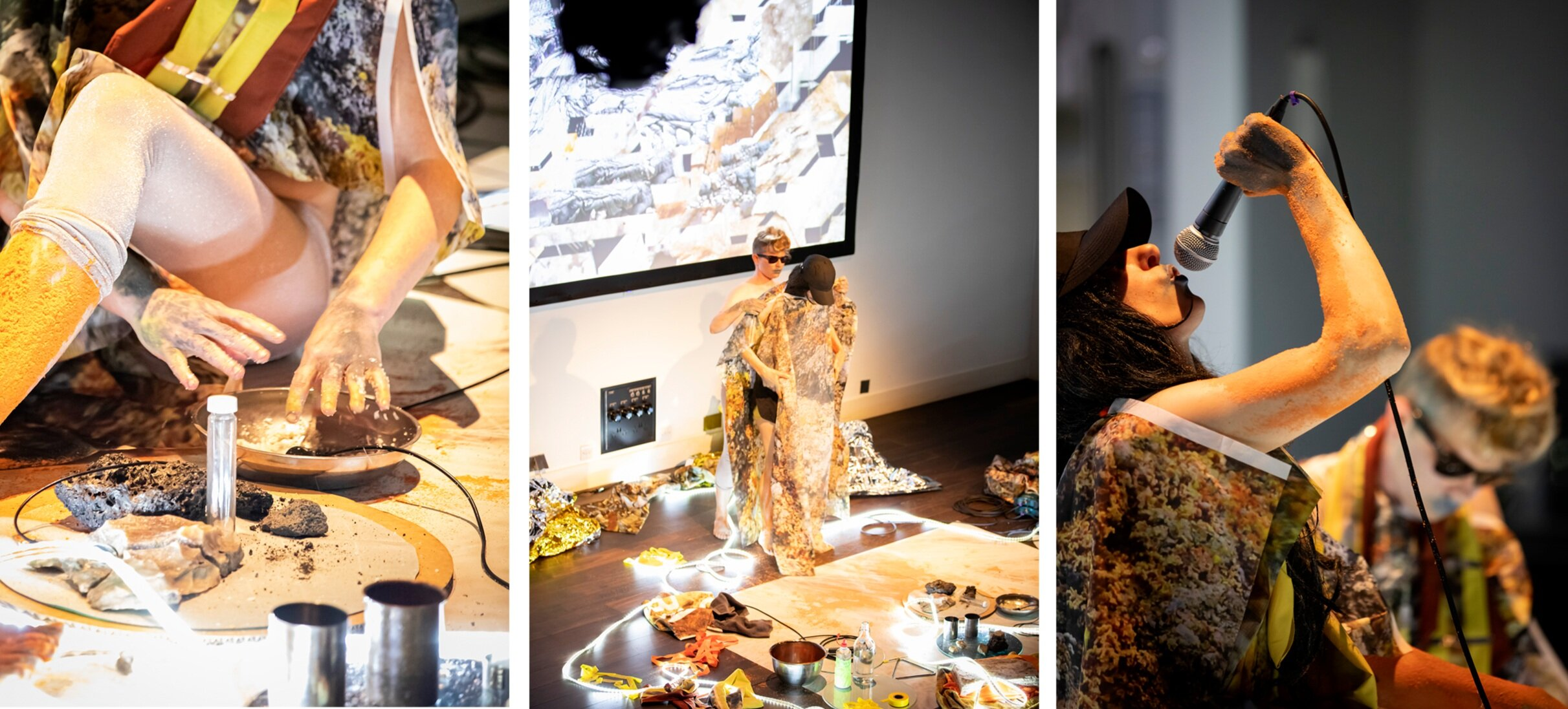 S (Sulfur)  . 2019. Science Gallery, London.  Rachel Pimm  and Lori E Allen. .  Video, live performance and sound.  Photos by George Torode.