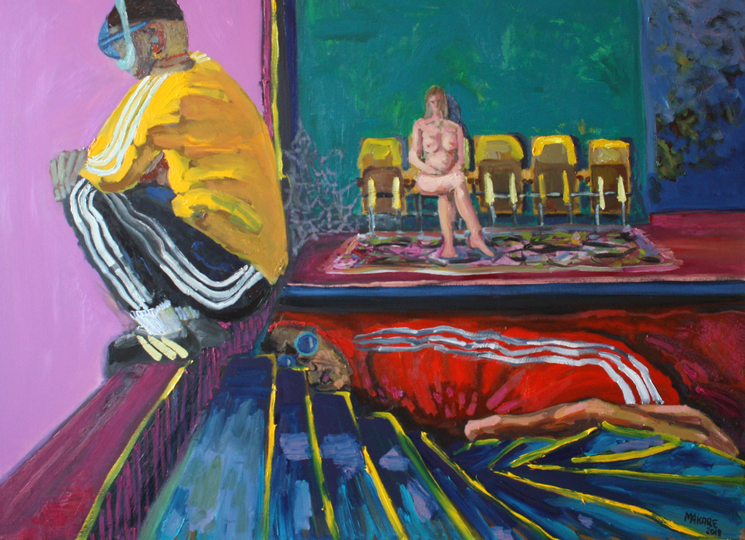 "Future and past of the micro-district theater, 39.3"" x 55.1"" (100 x 140 cm), oil on canvas, 2018"