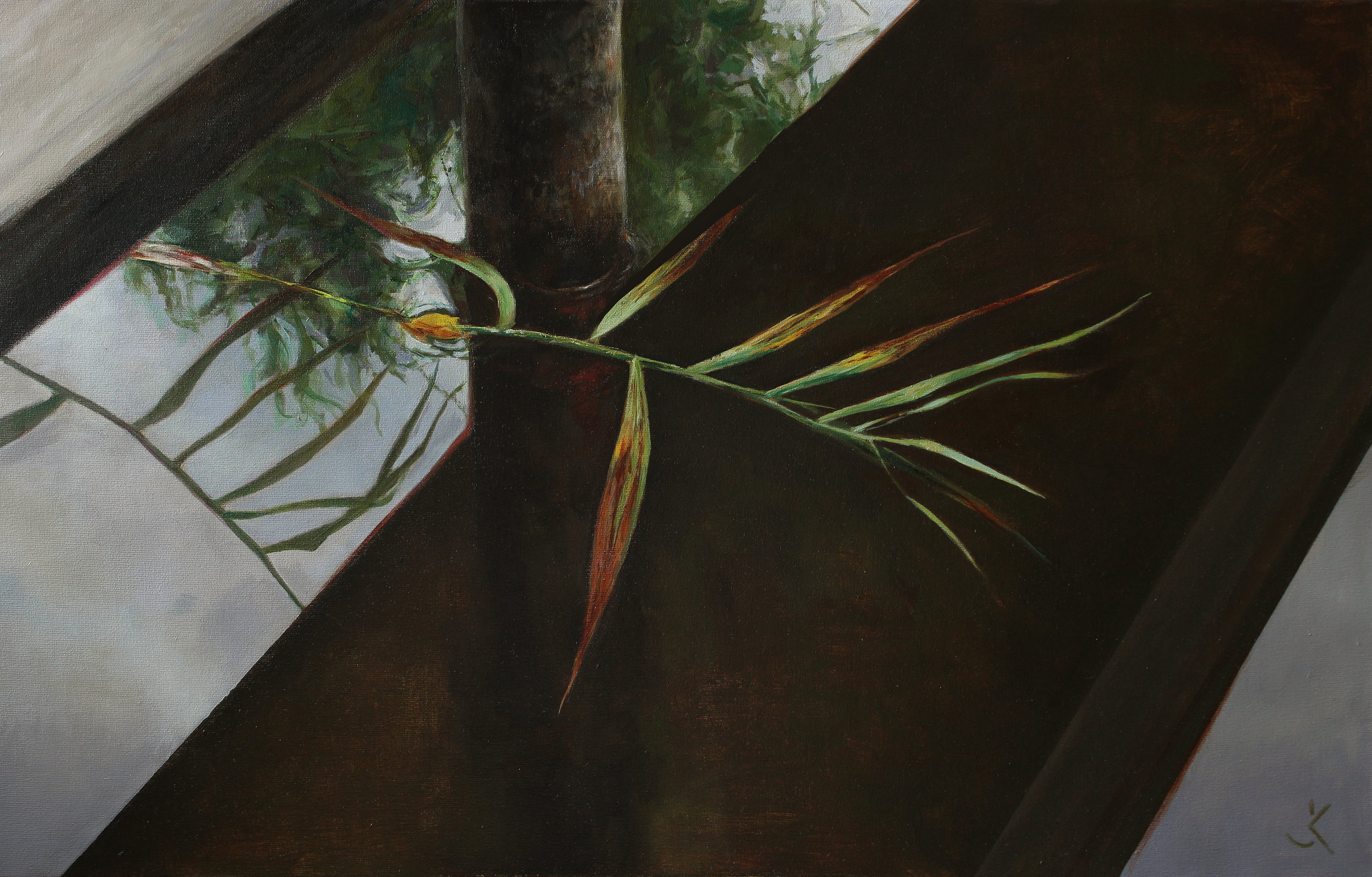 """Leaves, 19.6"""" x 31.4"""" (50 x 80 cm), oil on canvas"""