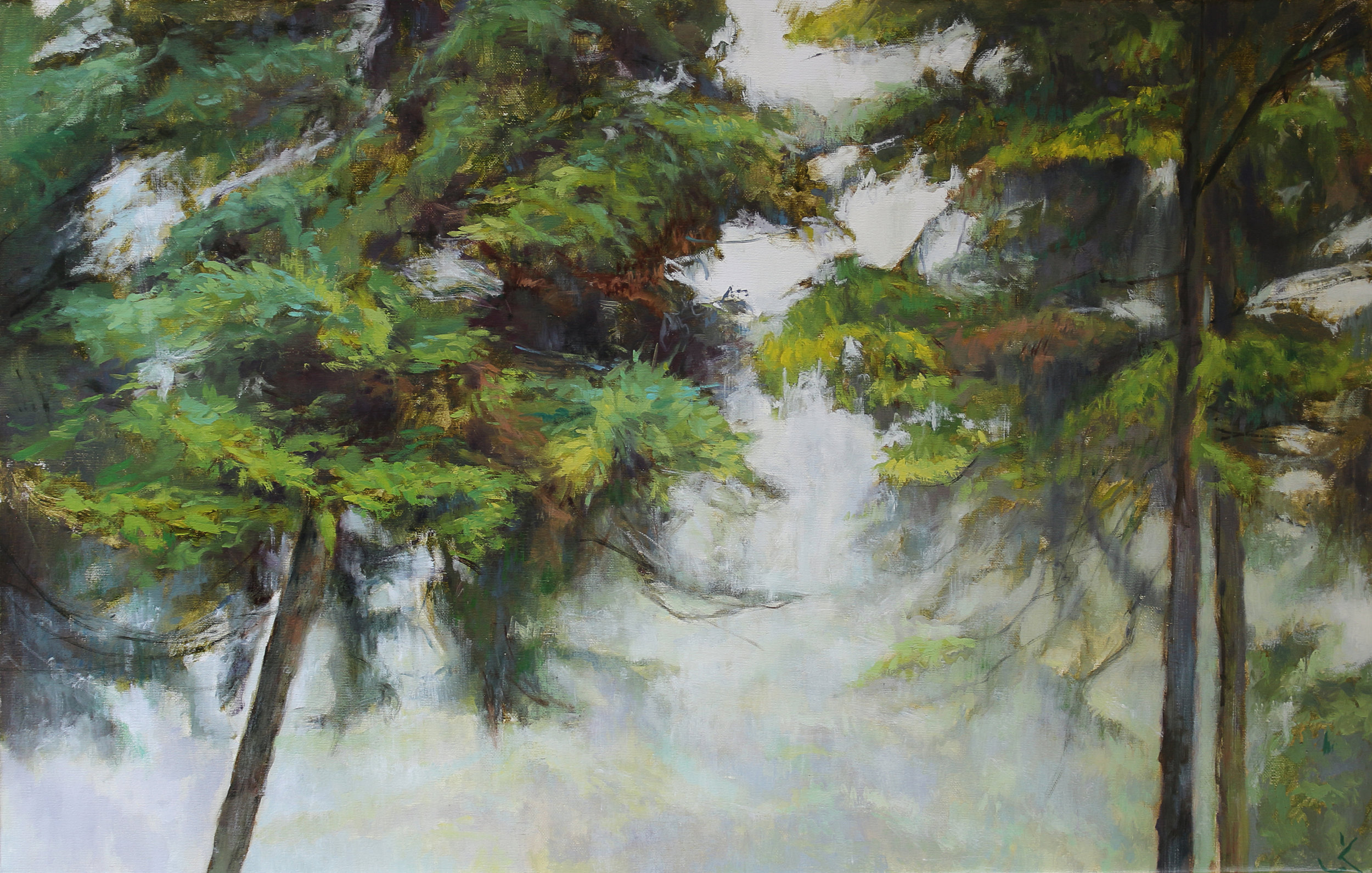 "Foggy day, 19.6"" x 31.4"" (50 x 80 cm), oil on canvas"