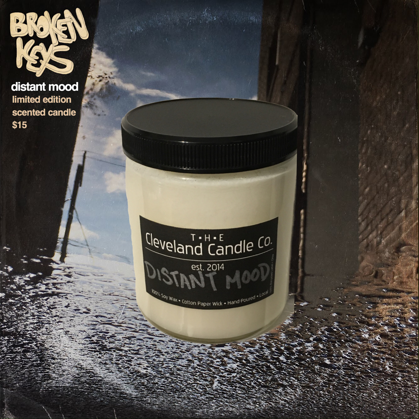 Distant Mood limited edition scented candle $15 - 8 oz. hand poured candle with 100% soy wax and cotton paper wick in collaboration with The Cleveland Candle Co. 30-50 hour burn time. The scent is intended to accompany the Distant Mood listening experience.