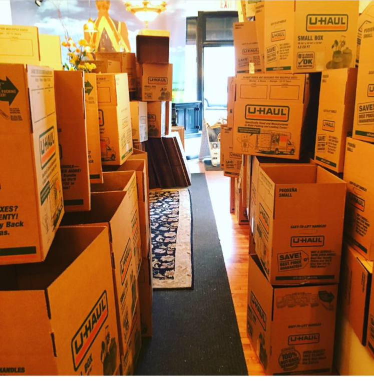 At Gold Million Records, Bryn Mawr, PA. 305 boxes needed to pack 30,000 records.