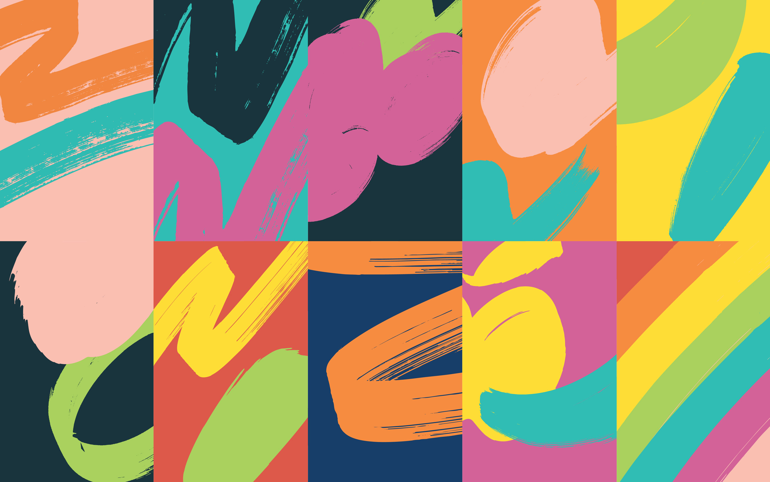 Backgrounds combining strokes and stains, with different color schemes.