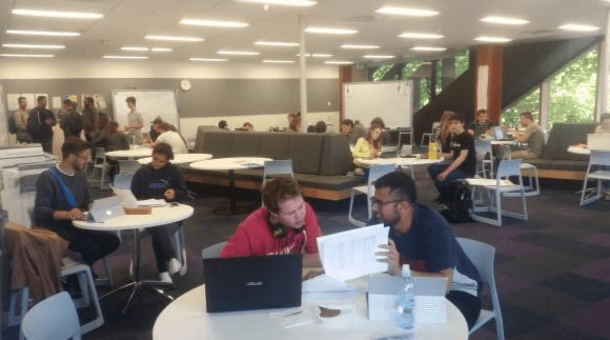 The drop in tutorial centre in the Science building at University of Auckland was full of students revising together for their exams.