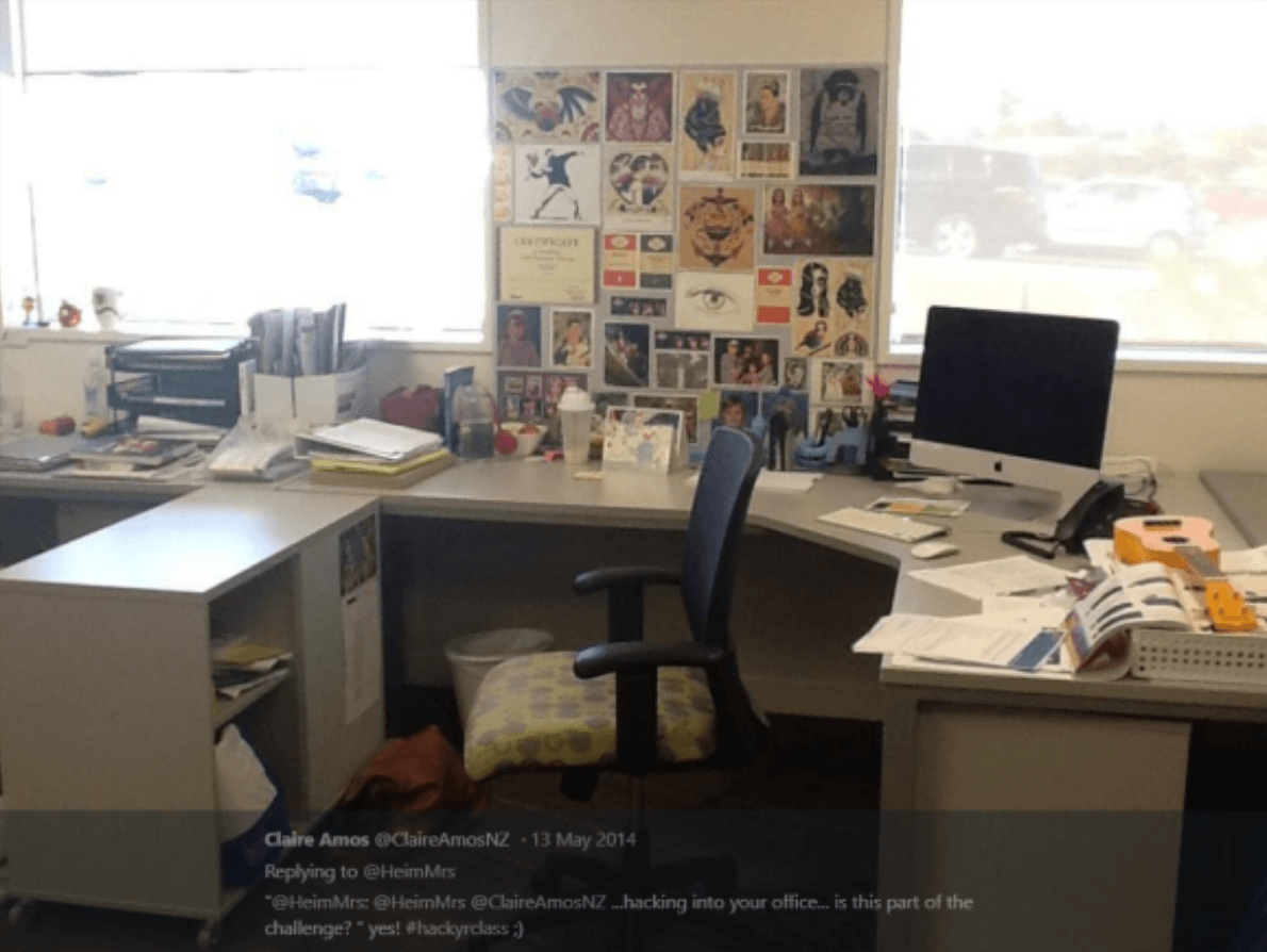 Claire Amos always created a great sense of her around her desk!