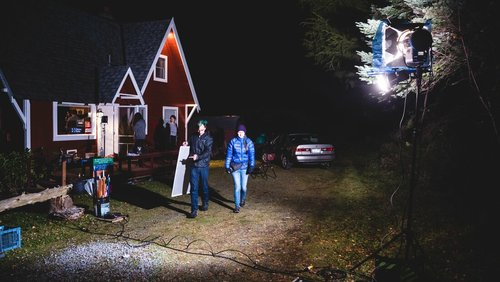 Grips Codie Will-Bratton and Kirsten Zeller start lighting outside the house for a scene early in the movie. Photo by Simon A Fox.