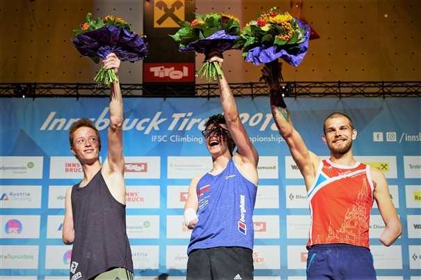 Matthew Phillips takes the gold medal at the IFSC World Championships 2018. Photo: IFSC