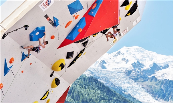 GB Climbing athletes Will Bosi and Molly Thompson-Smith compete in the stunning setting at the IFSC Lead World Cup in Chamonix. Photo: IFSC / Eddie Fowke
