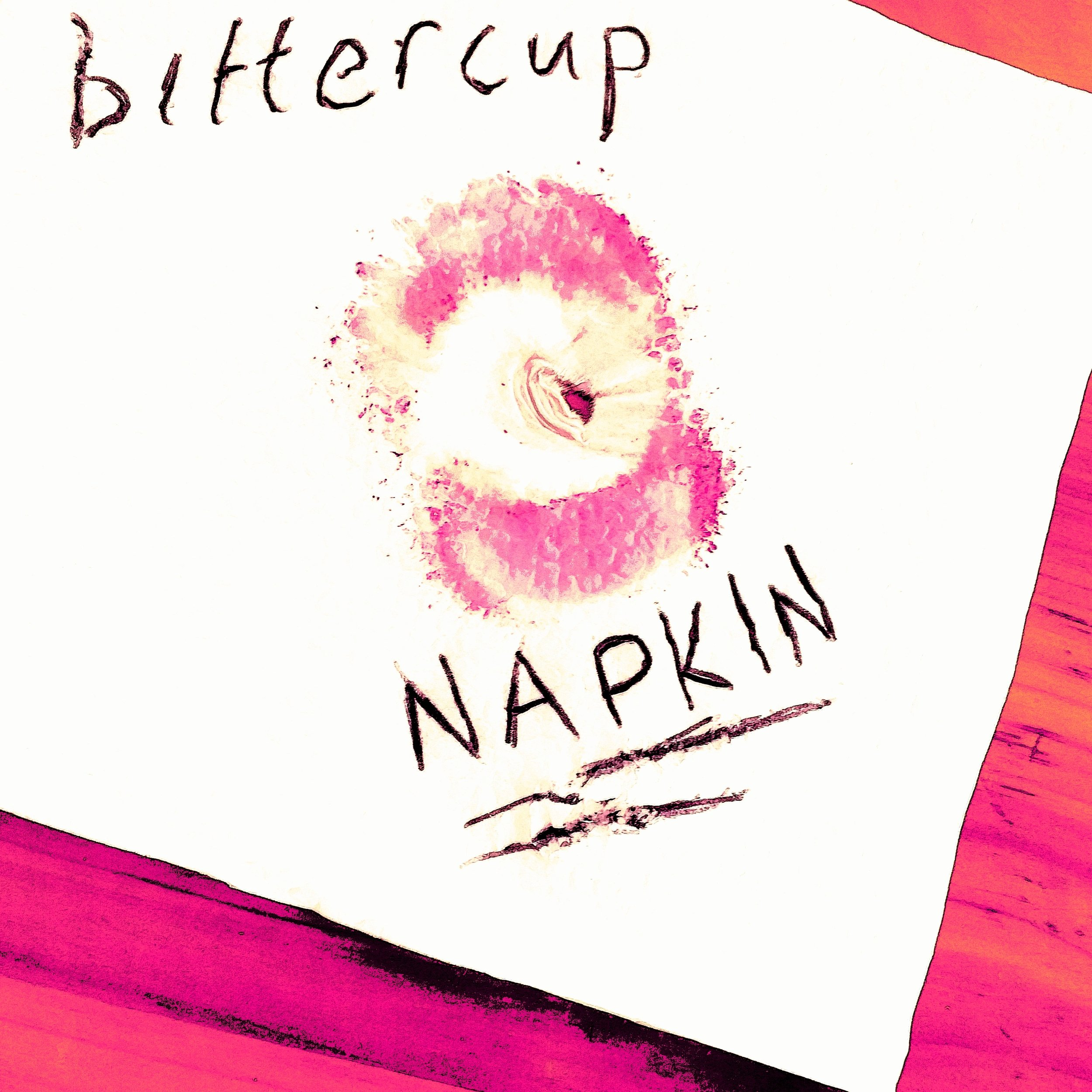 """Bittercup leaves a strong token of affection on the cover of """"Napkin."""""""