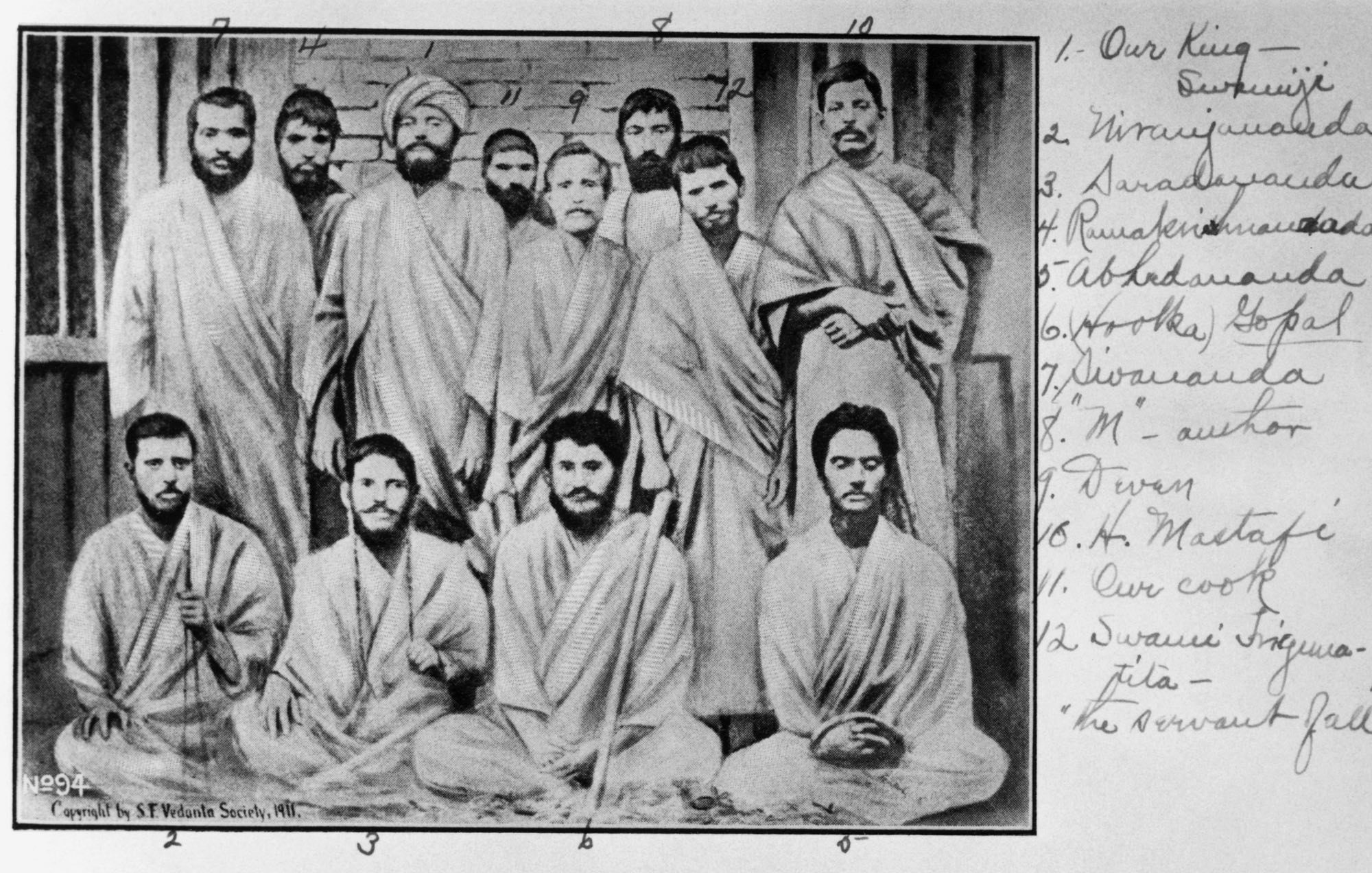 "(#6a) Swami Trigunatitananda's handwriting on the right: 1. Our King—Swamiji 2. Niranjanananda 3. Saradananda 4. Ramakrishnananda 5. Abhedananda 6. (Hootka) Gopal 7. Sivananda 8. ""M""—author 9. Deven 10. H. Mastafi 11. our cook 12. Swami Trigunatita—""the servant of all"""