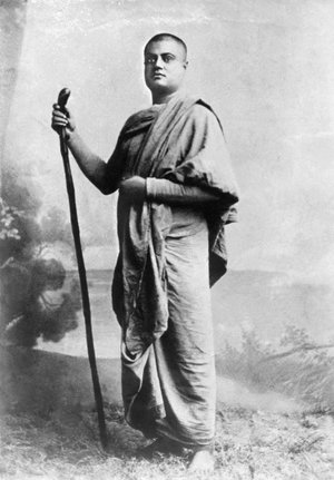 "(#7) (Probably) Jaipur, 1891. This photo and the next were taken probably at the same time—and are Swamiji's only ""wandering monk"" pictures without a turban."