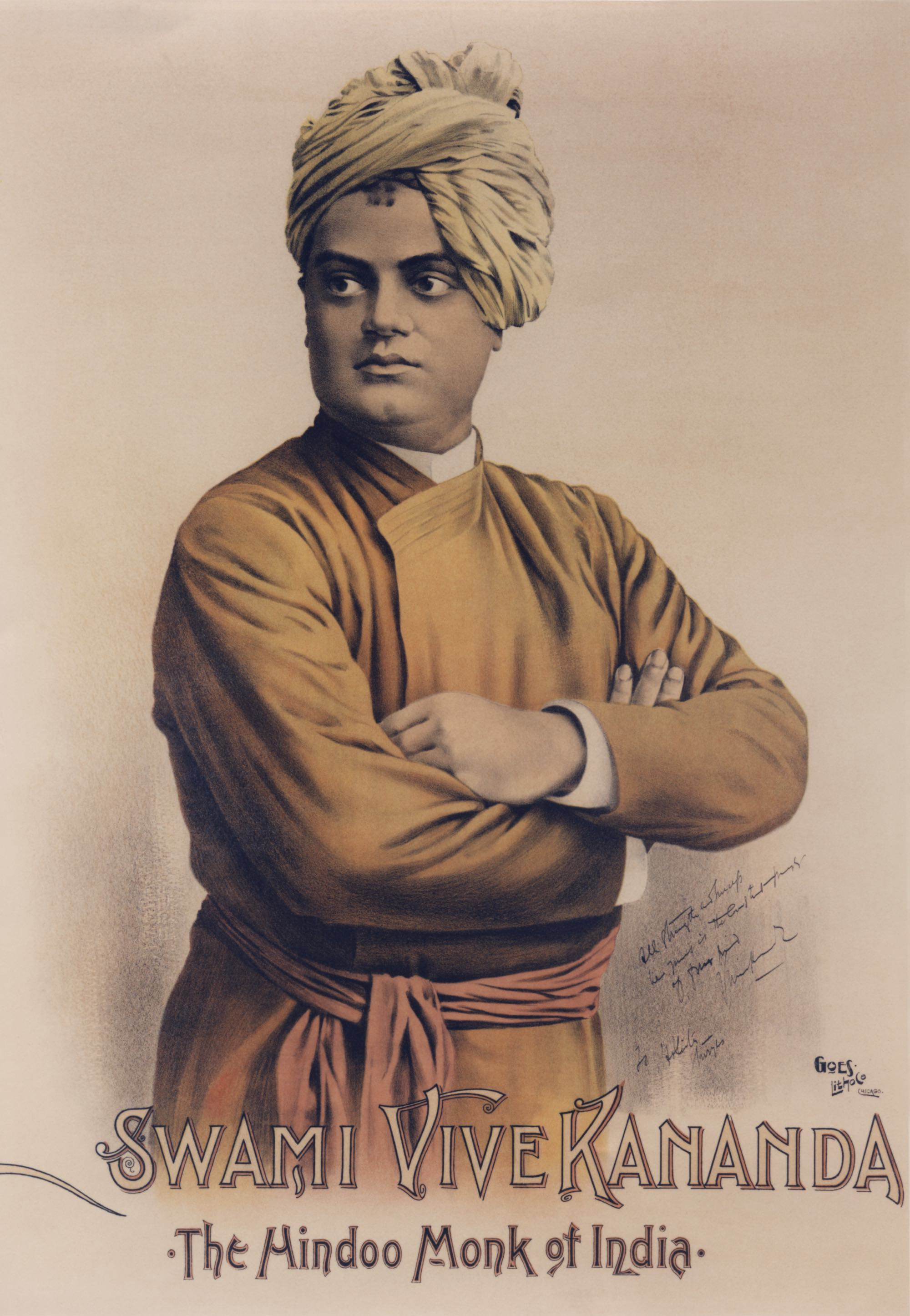 (#22) Chicago, September 1893. This poster of Swamiji (based on #21) was made by the Goes Lithographic Co., Chicago. It was posted throughout the city to draw people attention to the World's Fair.