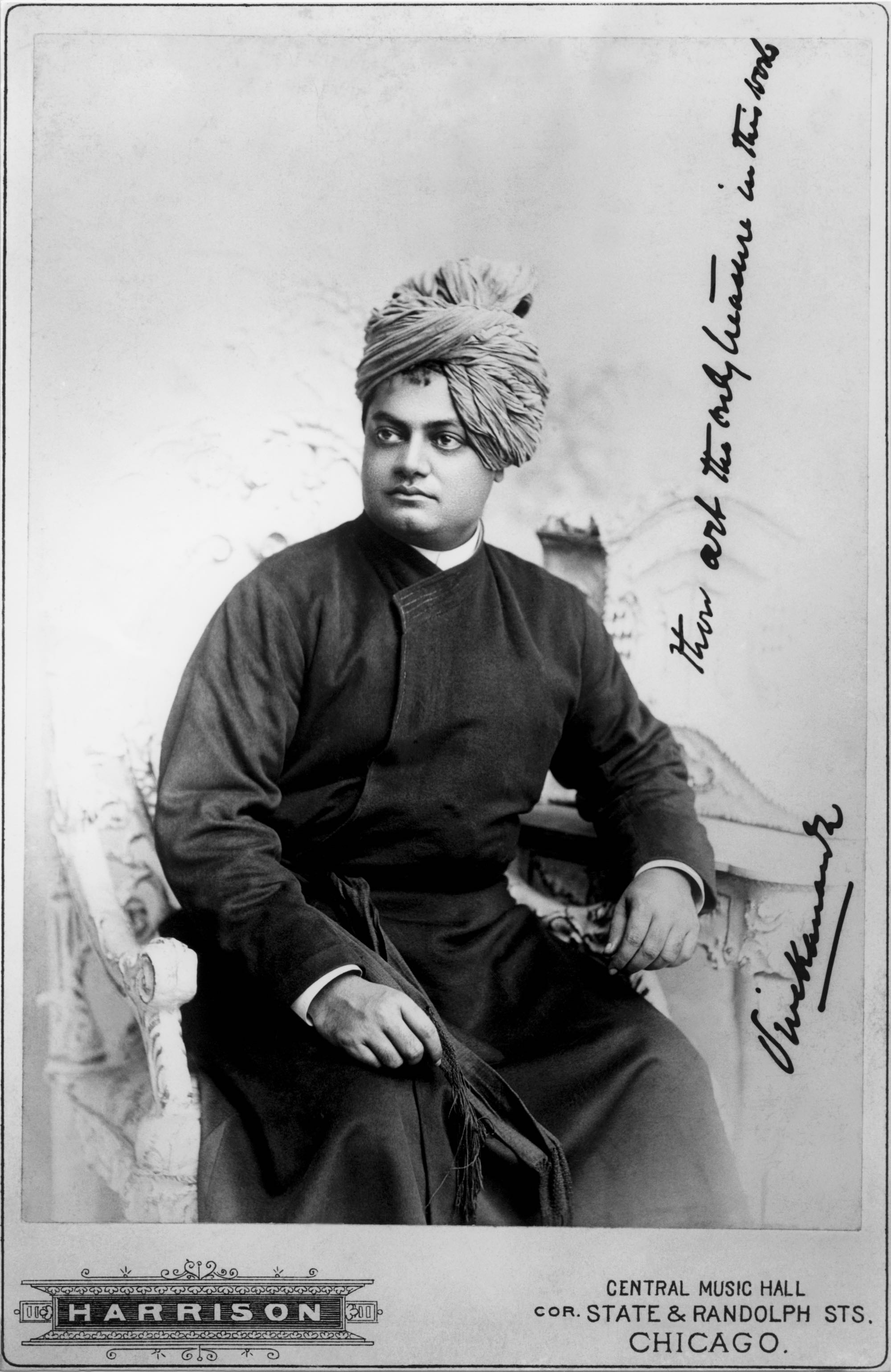 "(#24) Chicago, 1893. Swamiji's inscription: ""Thou art the only treasure in this world."""