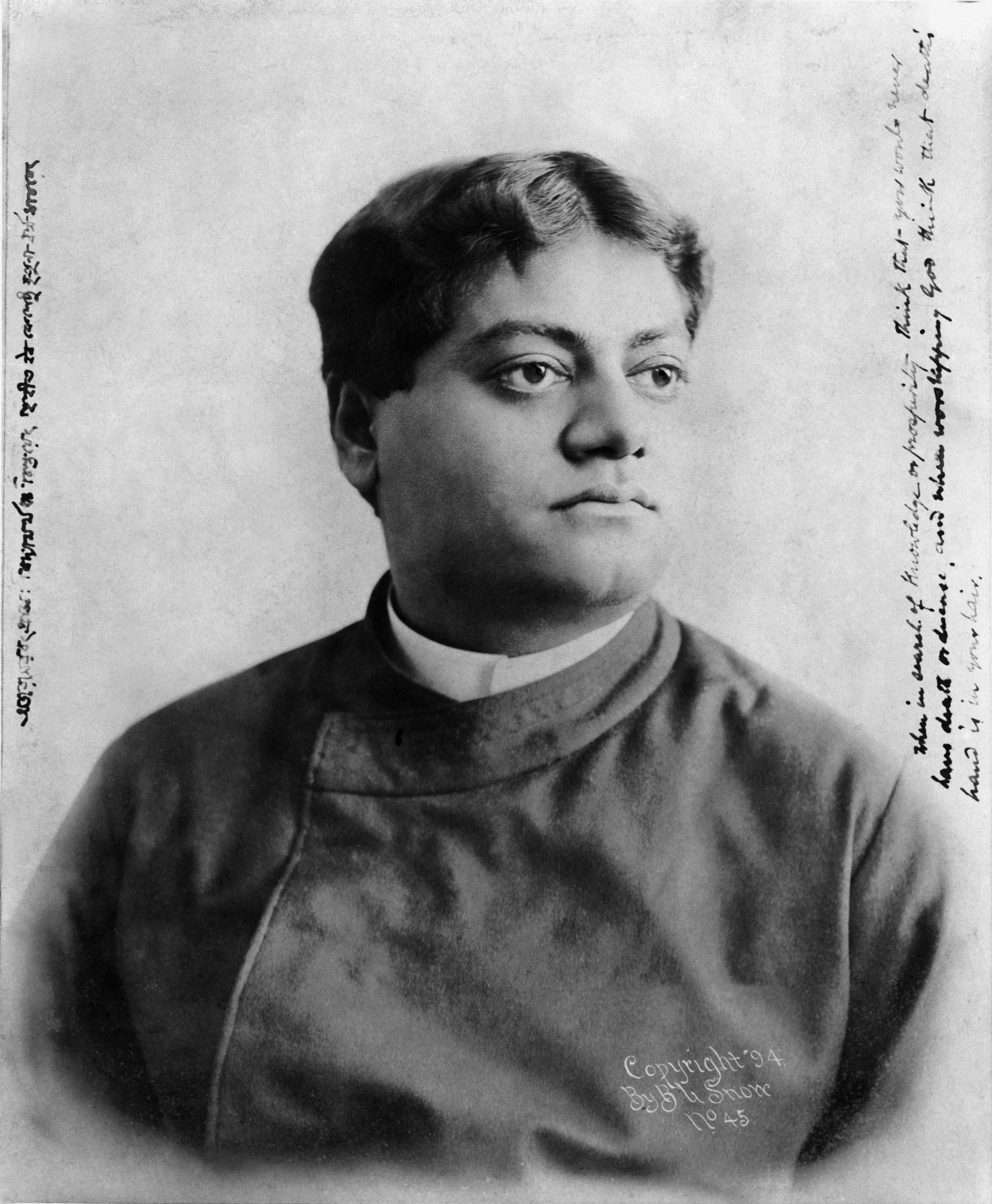 """(#29) Chicago, 1894. This photo was taken by E. B. Snow. Swamiji's inscription reads: """" Ajarāmaravat prājñaḥ vidyāṁ arthañca cintayet; Gṛhitvā iva keśeṣu mṛtyunā dharmaṁ ācaret.  When in search of knowledge or prosperity, think that you would never have death or disease, and when worshipping God, think that death's hand is in your hair."""""""