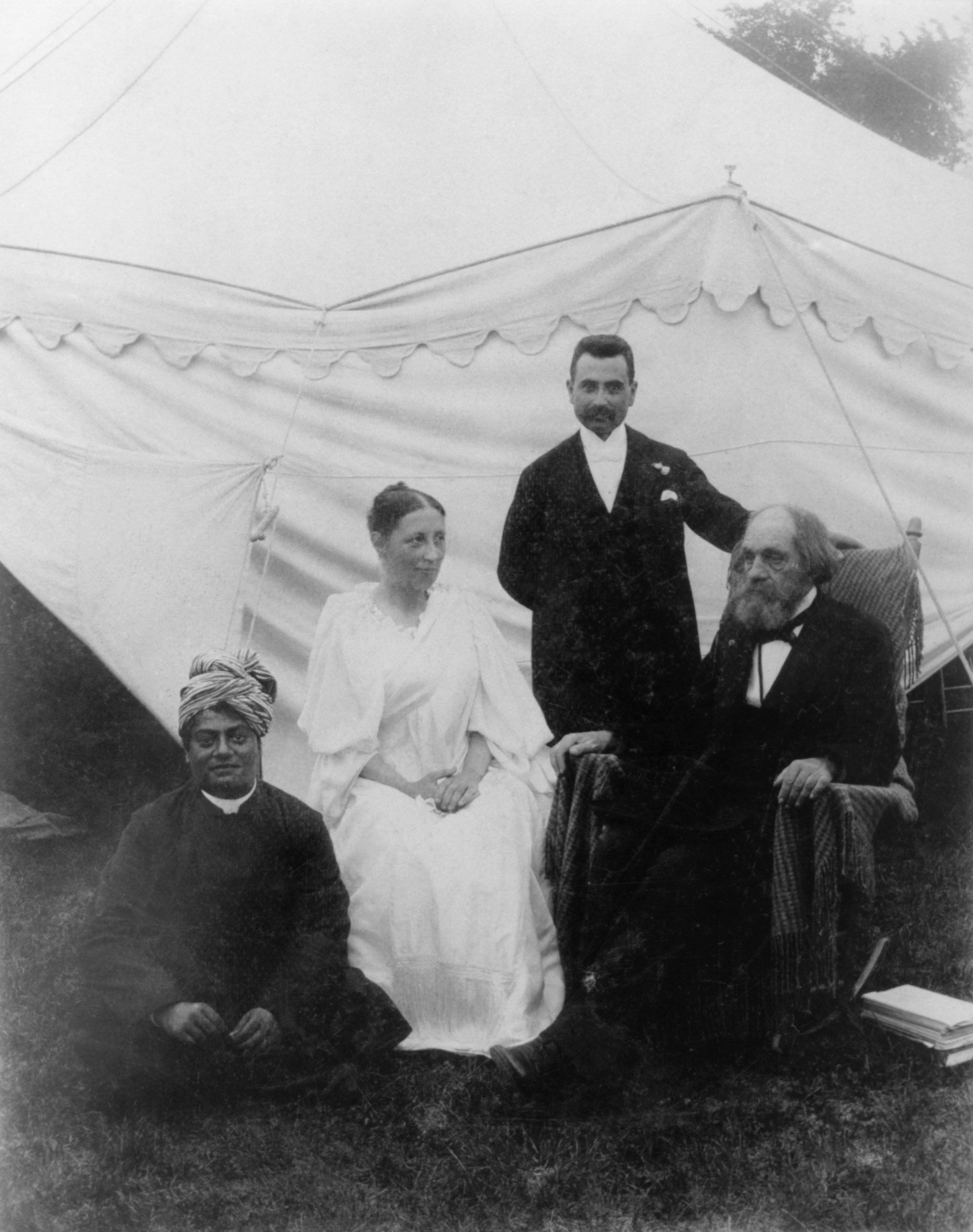 (#31) Green Acre, August 1894. (From L) Swamiji, Sarah J. Farmer, M. H. Gulesian, and Dr. Edward Everett Hale.